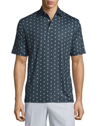Marauder Skull-Print Short-Sleeve Polo Shirt, Black