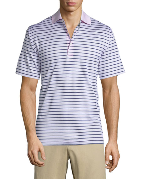 Peter Millar Charlie Striped Short-Sleeve Polo Shirt, Pink