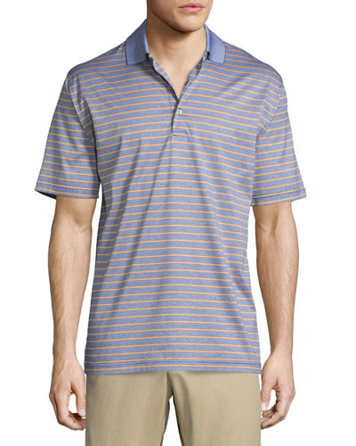Charlie Striped Short-Sleeve Knit Polo Shirt, Navy