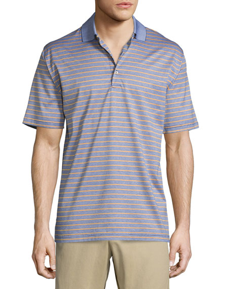 Peter Millar Charlie Striped Short-Sleeve Knit Polo Shirt, Navy