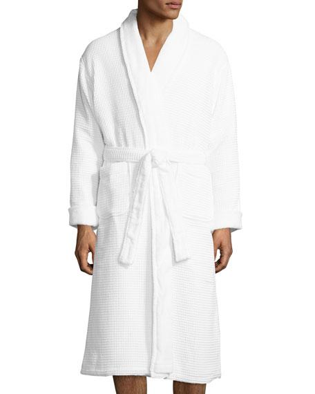 Neiman Marcus Waffle-Knit Terry Wrap Robe, White