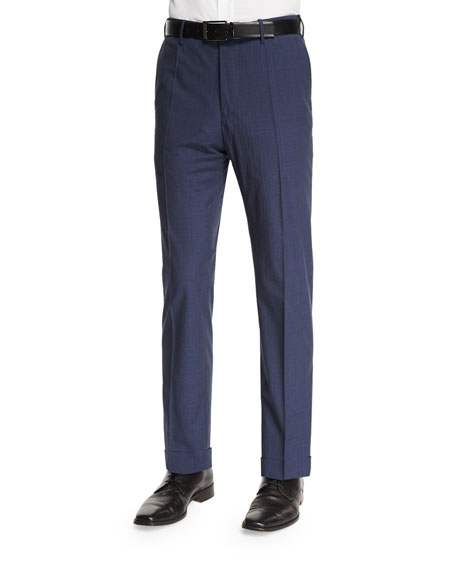 Benson Standard Fit Plaid-Seersucker Trousers, Navy