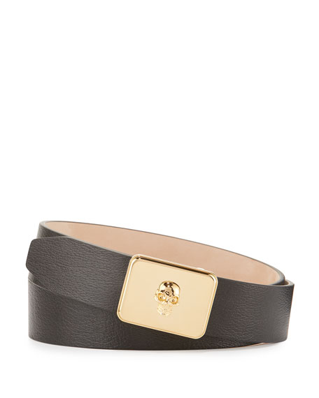 Alexander McQueen Skull Plate Buckle Belt, Black and