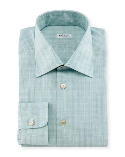Micro-Check Windowpane Woven Dress Shirt, Sage