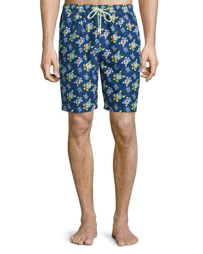 Sea Turtle Printed Swim Trunks, Navy
