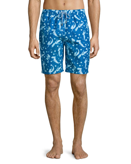Peter MillarMermaid-Print Swim Trunks, Navy