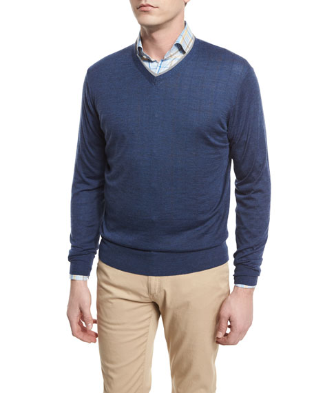 Peter Millar V-Neck Tipped Pullover Sweater, Arno Blue