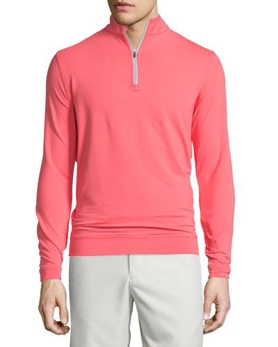 Perth Performance e4 Quarter-Zip Stretch Sweater, Guava