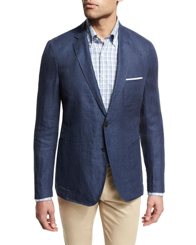 Two-Button Linen Soft Sport Coat, Navy