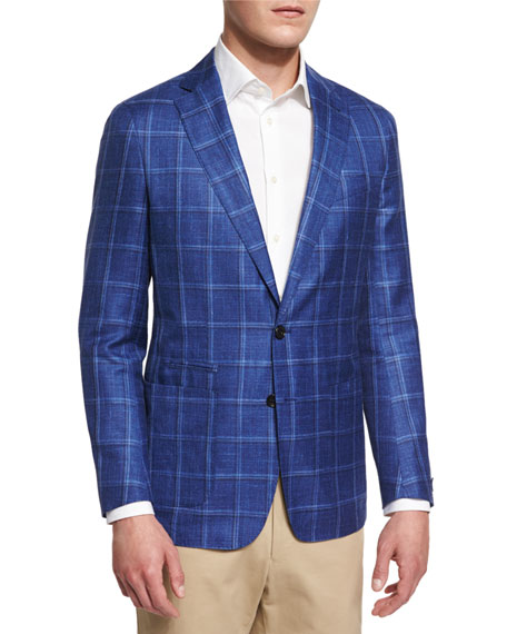 Peter Millar Newport Plaid Wool-Blend Sport Coat, Avio