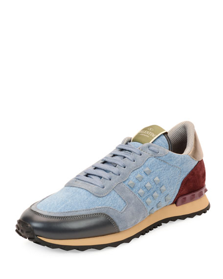 Valentino Rockstud Denim & Leather Trainer Sneaker, Light