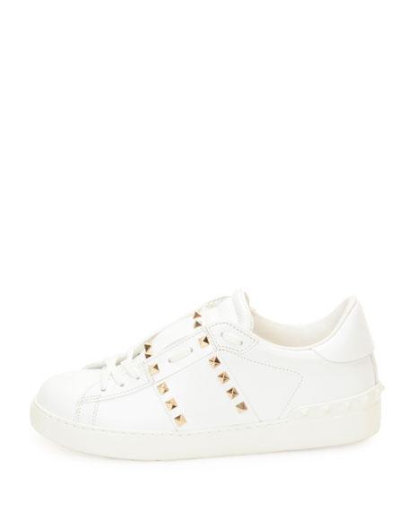 Rockstud Low-Top Leather Sneaker, White