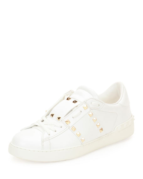 Valentino Garavani Rockstud Low-Top Leather Sneaker, White