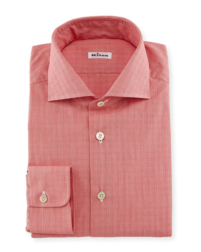 Glen-Plaid Woven Dress Shirt, Coral