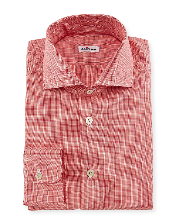 Kiton Glen Plaid Woven Dress Shirt Coral Neiman Marcus
