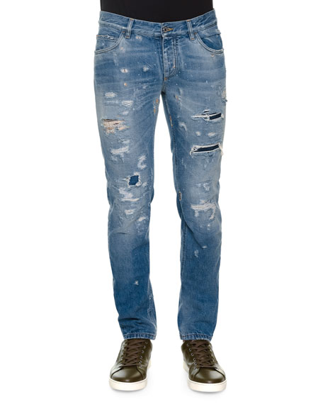 Dolce & Gabbana Distressed Denim Jeans with Embroidered