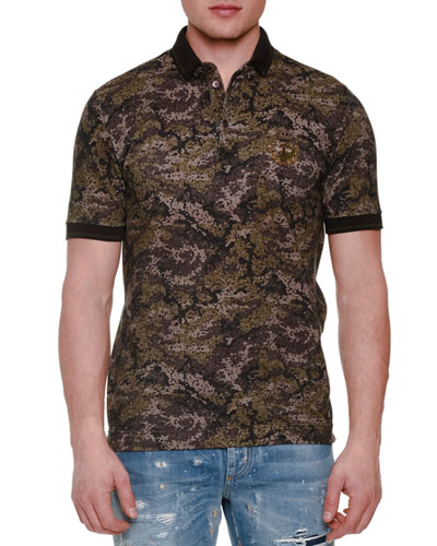 Pixel Camo-Print Short-Sleeve Polo Shirt, Olive