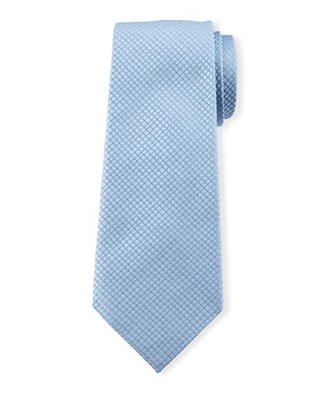 Davidoff Check Tiles Silk Tie, Blue