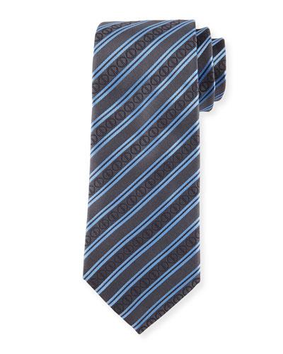 Icon Stripes Silk Tie, Black