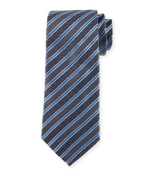 Davidoff Icon Stripes Silk Tie, Black