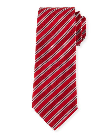 Icon Stripes Silk Tie, Red