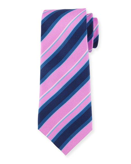 Regimental Silk Tie, Purple/Black