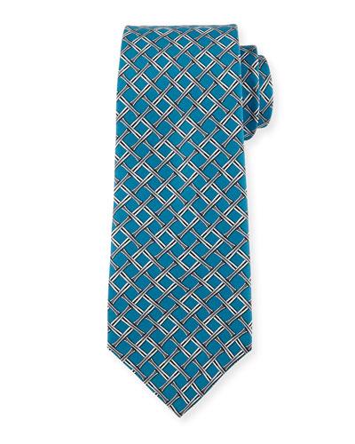 Velero Silk Tie, Blue/Gray