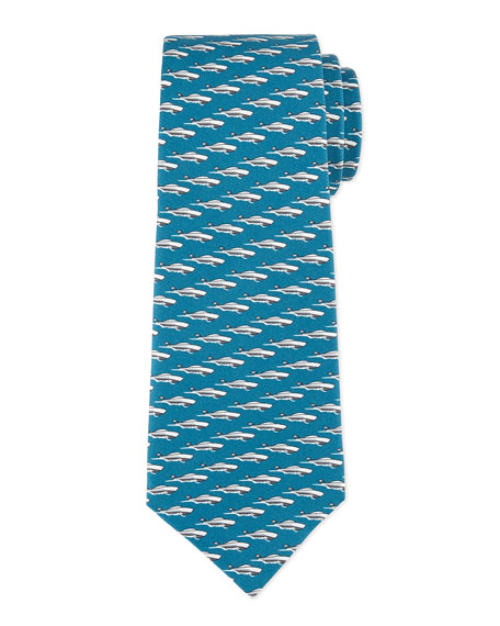 Boats Silk Tie, Cool Water