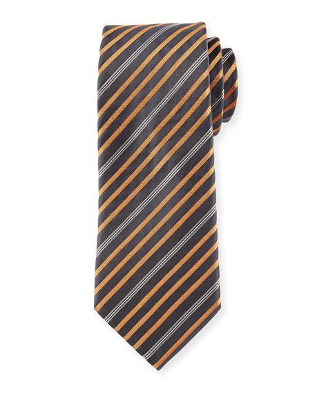 Six Stripes Silk Tie, Tan/Gray