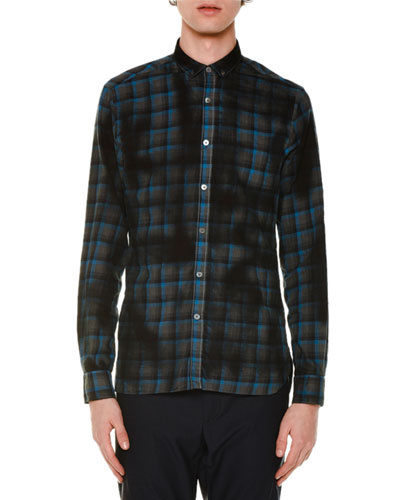 Oversized Plaid Long-Sleeve Sport Shirt, Blue