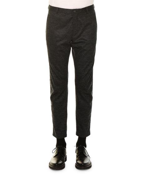 Lanvin Tonal-Check Wool Biker Pants, Charcoal