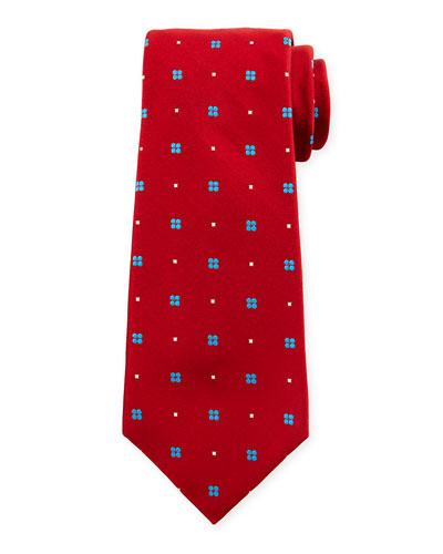 Neat Flower-Print Silk Tie, Red