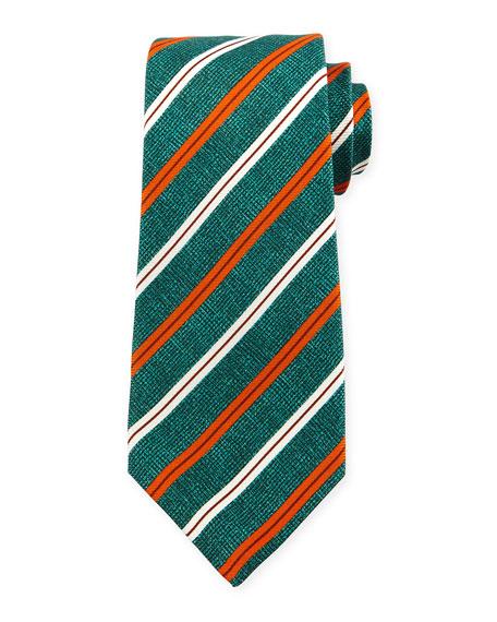 Grenadine Striped Silk Tie, Green