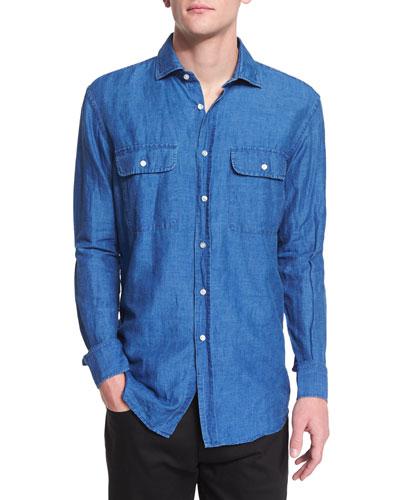 Long-Sleeve Chambray Shirt, Denim