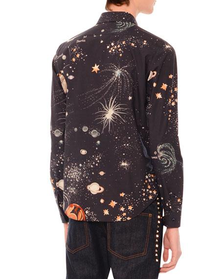 Cosmos-Print Button-Down Woven Shirt, Navy