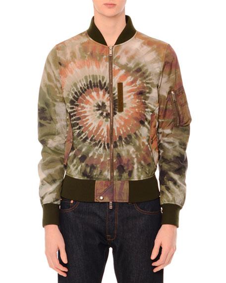 valentino tie dye zip up bomber jacket multi