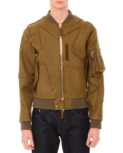 Cutout Star-Print Wool Bomber Jacket, Olive