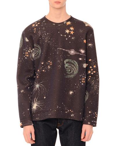 Cosmos-Print Crewneck Sweatshirt, Navy