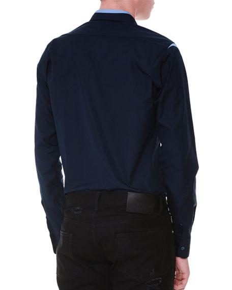Cutout-Trim Button-Down Woven Shirt, Navy