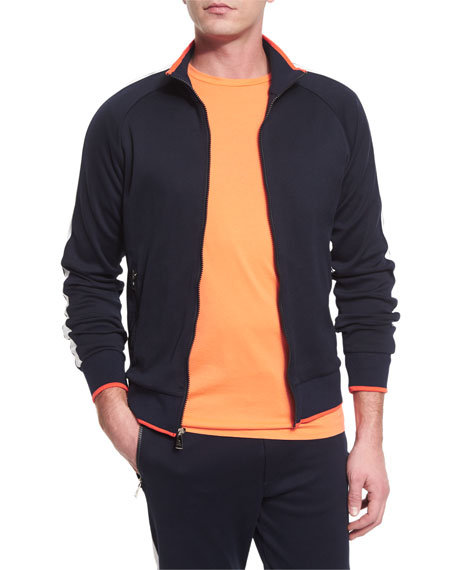 Ralph Lauren Colorblock Zip-Up Jersey Track Jacket, Navy