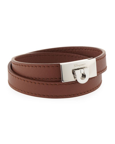 Men's Leather Double-Wrap Bracelet, Brown