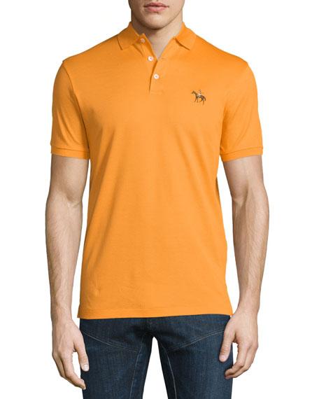 Ralph Lauren Embroidered-Pony Short-Sleeve Pique Polo Shirt, Orange