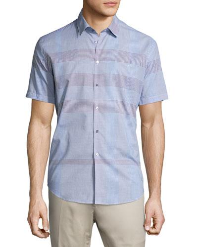 Modern-Fit Short-Sleeve Check Sport Shirt, Hydrangea Blue