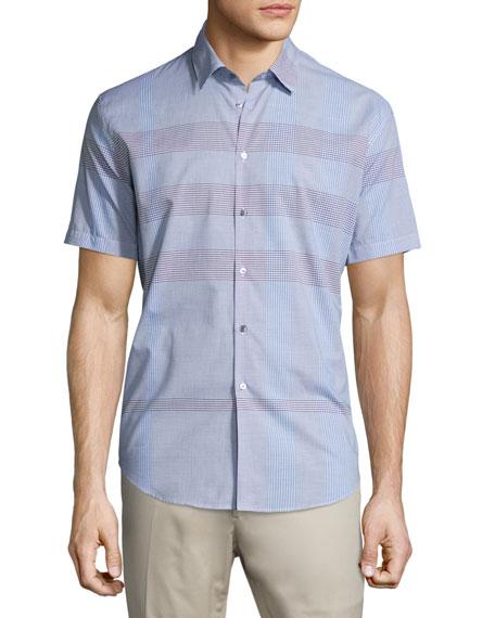 Burberry Modern-Fit Short-Sleeve Check Sport Shirt, Hydrangea