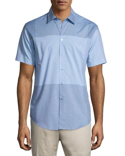 Modern-Fit Large-Check Short-Sleeve Sport Shirt, Light Blue