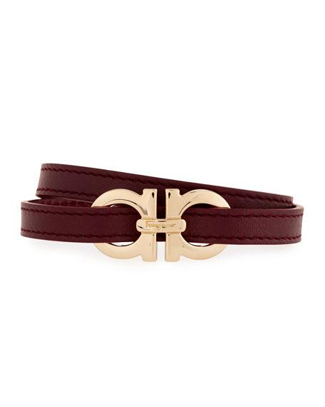 Gancini Leather Wrap Belt, Wine