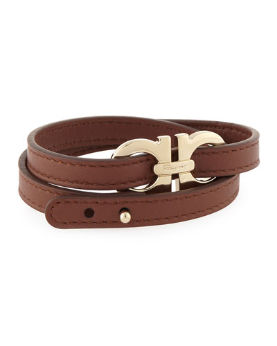 Men's Gancini Leather Wrap Bracelet, Brown