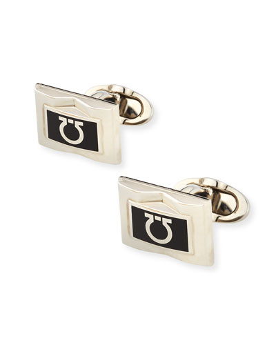 Gancini-Enamel Rectangular Cuff Links, Black