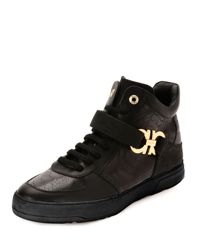 Nayon 4 Ostrich Leg High-Top Sneaker, Black
