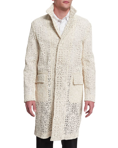 Embroidered Lace Button-Down Car Coat, Cream